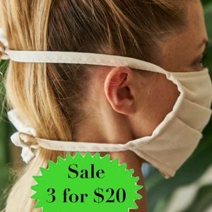 2 Cotton face mask GREEN FOLDED head ties covering